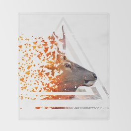 Caution Deer by GEN Z Throw Blanket