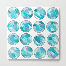 'An Ocean Dream' Abstract Illustration in blue, turquoise, aqua and silver Metal Print