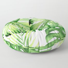 TROPICAL WATERCOLOR SHEETS WITH GREEN TONES - 01A Floor Pillow