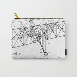 Wright Brother's Machine Patent - Airplane Art - Black And White Carry-All Pouch