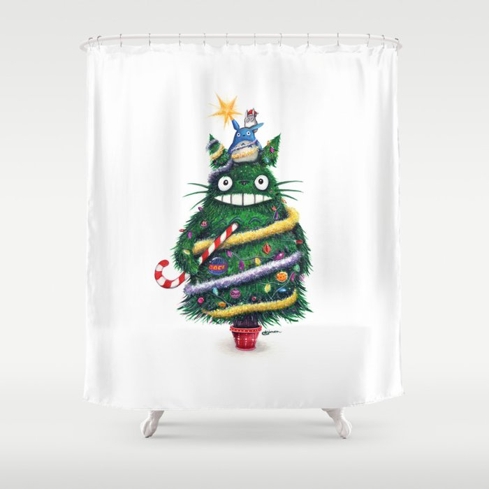 Christmas TOTOR0 Studio Ghibli Shower Curtain By Simanion
