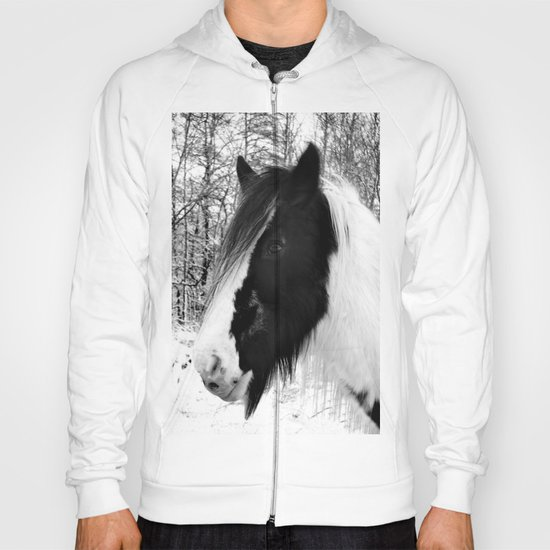 Horse. Black+White.Snow. Hoody