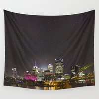 pittsburgh Wall Tapestries featuring Goodnight Pittsburgh by Daniel Tournay