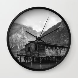 House on Water (Black and White) Wall Clock