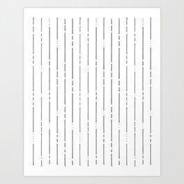 Broken Lines // Vertical White on Black Art Print