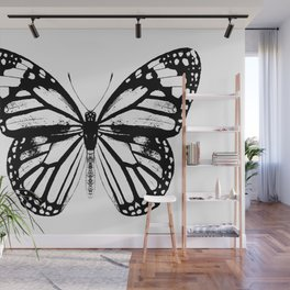 Monarch Butterfly | Black and White Wall Mural