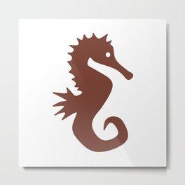 Seahorse (Brown & White) Metal Print