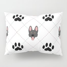 Black German Shepherd Paw Print Pattern Pillow Sham