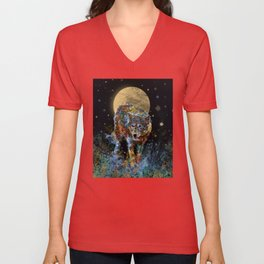 floral animals wolf and stars Unisex V-Neck