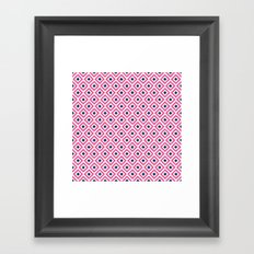 Pink and Navy Blue Diamonds Ikat Pattern Framed Art Print