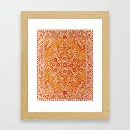 N78 - Orange Antique Oriental Berber Moroccan Style Carpet Design. Framed Art Print
