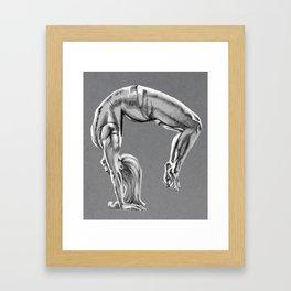 Bend Over Backwards Greyscale Framed Art Print
