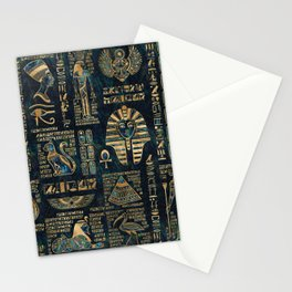 Egyptian hieroglyphs and deities -Abalone and gold Stationery Cards