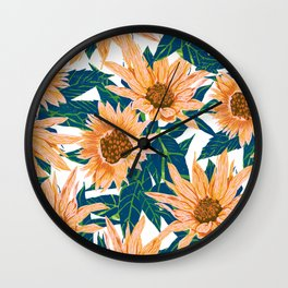 Blush Sunflowers Wall Clock