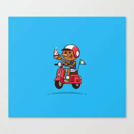 Italy! Pinocchio Eat Pizza and Ride Vespa Canvas Print