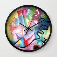 kandinsky Wall Clocks featuring KANDINSKY - oil painting by NoMoreWinters