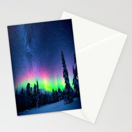 Aurora Borealis Over Wintry Mountains Stationery Cards