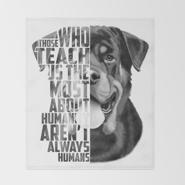 Rottweiler Quote Text Portrait Throw Blanket