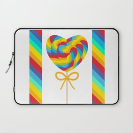 Valentine's Day Heart shaped candy lollipops with bow, colorful spiral candy cane with rainbow Laptop Sleeve