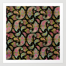 Pink and Blue glitter Gold Paisley  on black Art Print