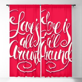 Love Is All Around Script Lettering Pink Blackout Curtain