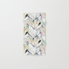 Pastel Shimmer Feather Leaves on Gray Hand & Bath Towel