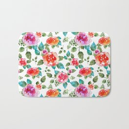 Rustic  floral pattern with rose Bath Mat