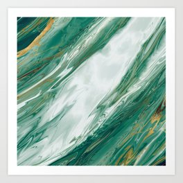 Emerald Jade Green Gold Accented Painted Marble Art Print
