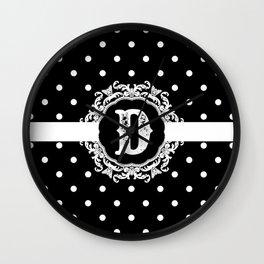 Black Monogram: Letter D Wall Clock