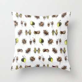 Autumn Decay - Acorns, Conkers and Little Critters. Throw Pillow