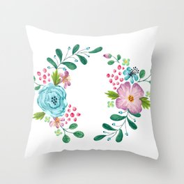 Bouquet Violet, Green AND Blue Flower Throw Pillow