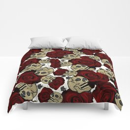 Red Roses & Skulls Black Floral Gothic White Comforters