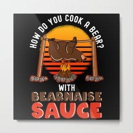 Funny Eating Bear Chef Bearnaise Design Metal Print