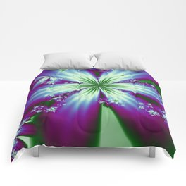 Purple Blue and Green Flowers Comforters