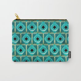 Turquoise And Gold Diamonds Geometric Pattern Carry-All Pouch