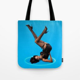 """Dizzy Desi"" - The Playful Pinup - Black Lingerie Pinup Girl by Maxwell H. Johnson Tote Bag"