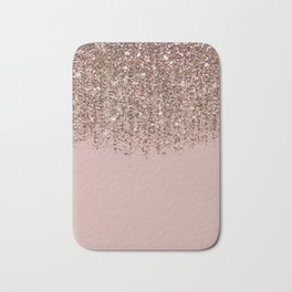 Blush Pink Rose Gold Bronze Cascading Glitter Bath Mat