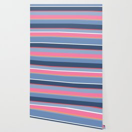 70s Style Simple Colored Stripes - Blues  Pinks Peach Wallpaper