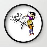 onward Wall Clocks featuring Onward John! by Rebekah Kroeplin