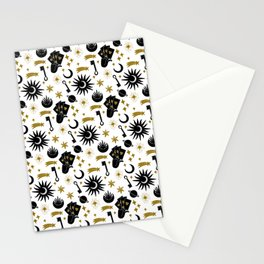 Sun and Moon and Divine Energy   Esoteric Pattern   Black and Gold Stationery Cards