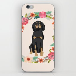 coonhound dog floral wreath dog gifts pet portraits iPhone Skin