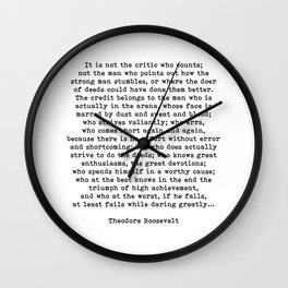 Man In The Arena Theodore Roosevelt Quote Wall Clock