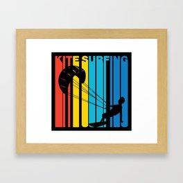 Retro Style Kite Surfing Kite Surfer Framed Art Print