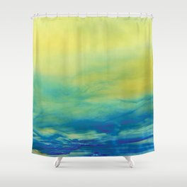 YELLOW & BLUE TOUCHING #1 #abstract #art #society6 Shower Curtain