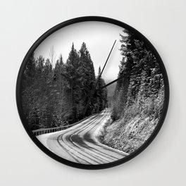 Snowy Mountain Pass Wall Clock