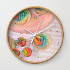 rainbow cupcakes Wall Clock