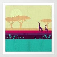 safari Art Prints featuring Safari by Kakel