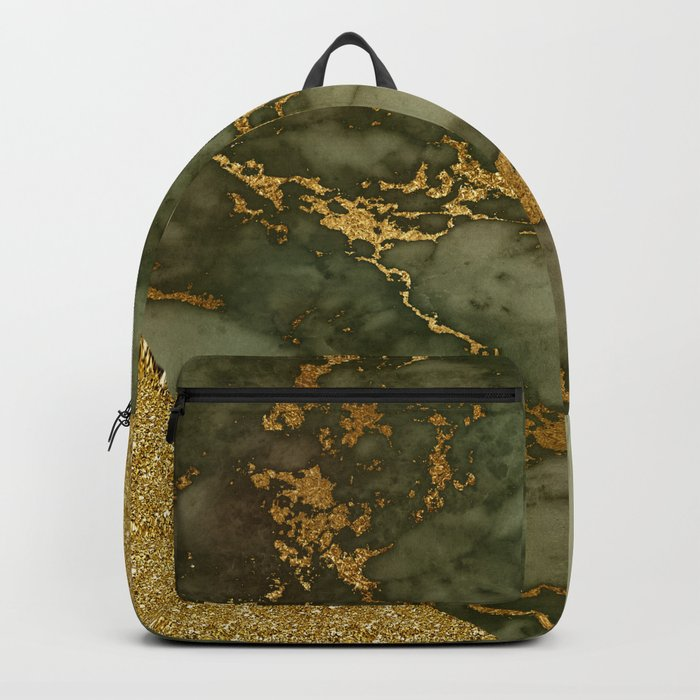 Green Marble with Gold and Glitter I Backpack