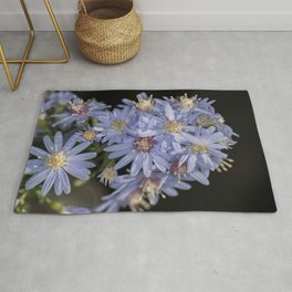 Tiny Blue Aster Flowers portrait Rug