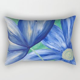 Large Blue Flowers Rectangular Pillow